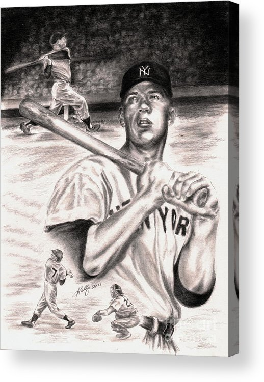 Mickey Mantle Portrait Acrylic Print featuring the drawing Mickey Mantle by Kathleen Kelly Thompson