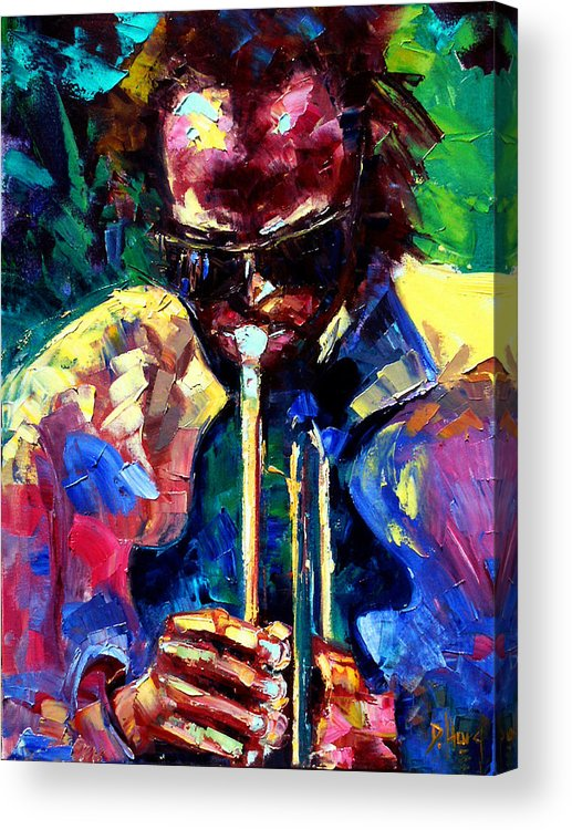 Jazz Acrylic Print featuring the painting Miles And Yellow by Debra Hurd