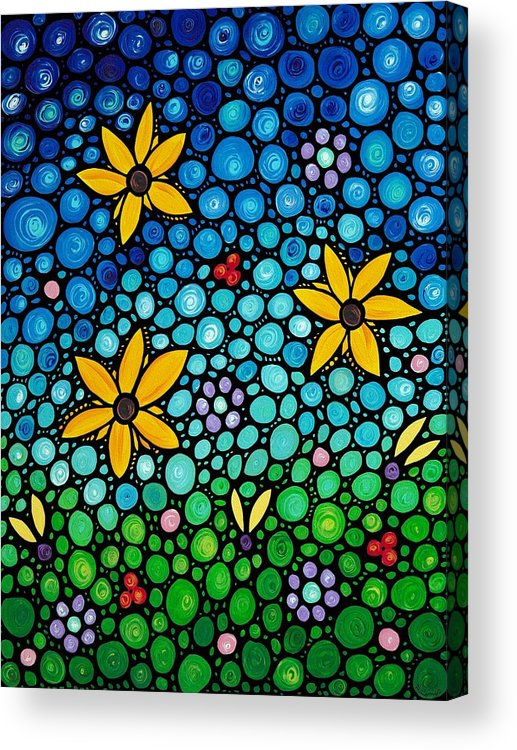 Floral Acrylic Print featuring the painting Spring Maidens by Sharon Cummings