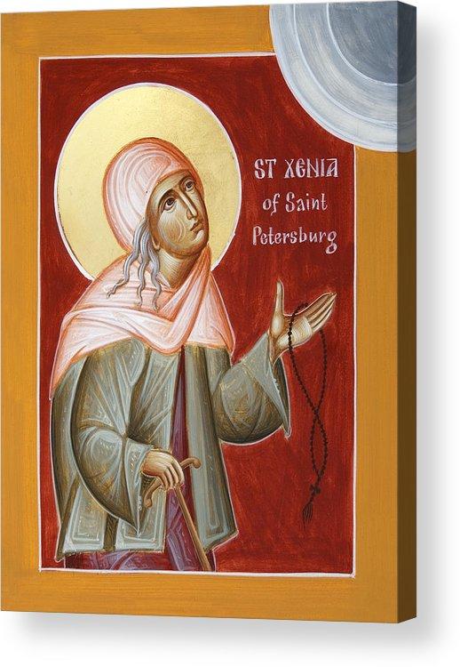 St Xenia Of St Petersburg Acrylic Print featuring the painting St Xenia Of St Petersburg by Julia Bridget Hayes