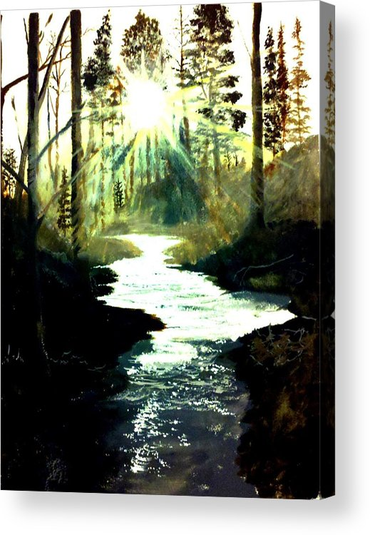 Pictures Canvas Acrylic Print featuring the painting Winter Over Almond Creek by Travis Ragan