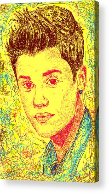 Justin Bieber Acrylic Print featuring the drawing Justin Bieber In Line by Kenal Louis