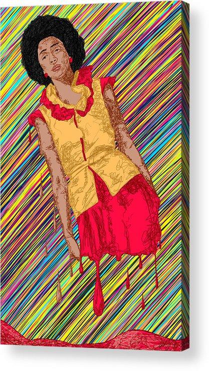 Fashion Abstraction De Fella Acrylic Print featuring the painting Fashion Abstraction De Fella by Pierre Louis