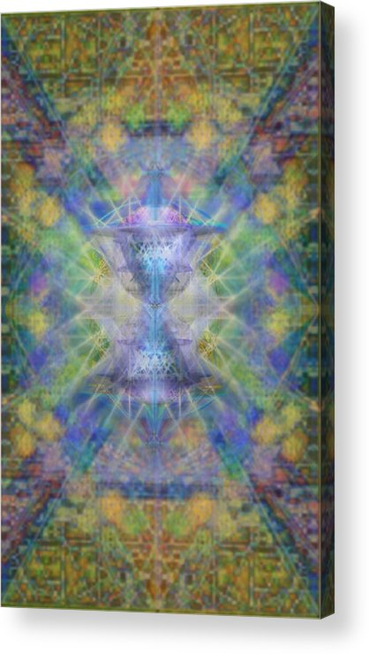 Chalicell Acrylic Print featuring the digital art Pivortexspheres On Chalicell Garden Tapestry Ivb by Christopher Pringer