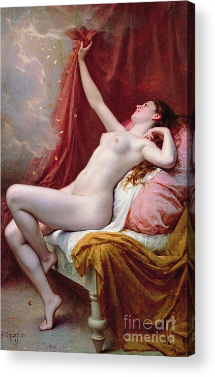 Nude Acrylic Print featuring the painting Danae by Alexandre-Jacques Chantron