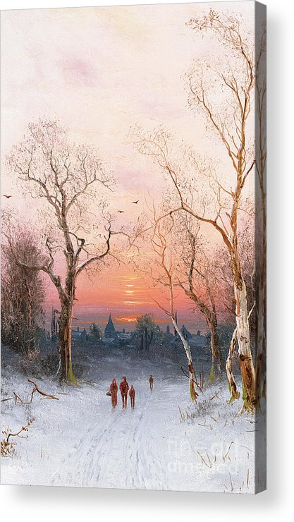Sunset; Ice Acrylic Print featuring the painting Going Home by Nils Hans Christiansen