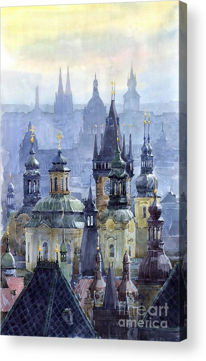Architecture Acrylic Print featuring the painting Prague Towers by Yuriy Shevchuk