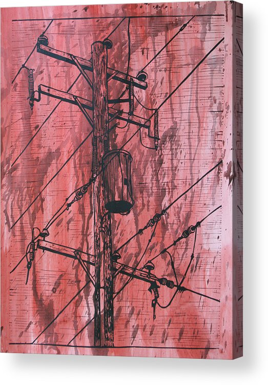 Lino Acrylic Print featuring the drawing Pole With Transformer by William Cauthern