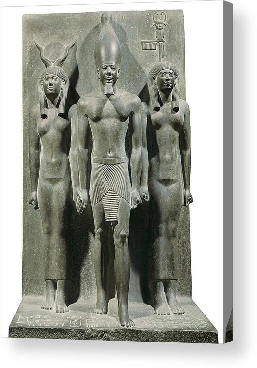 Vertical Acrylic Print featuring the photograph Triad Of Menkaure Mycerinus by Everett