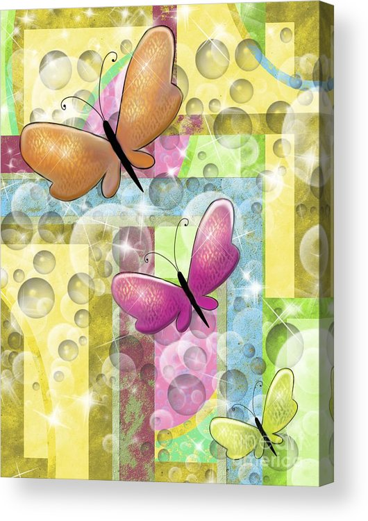 Butterfly Acrylic Print featuring the painting Butterfly Dreams by Karen Sheltrown