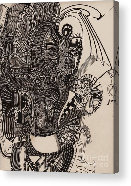 Pen Acrylic Print featuring the drawing Egypt Walking by Michael Kulick