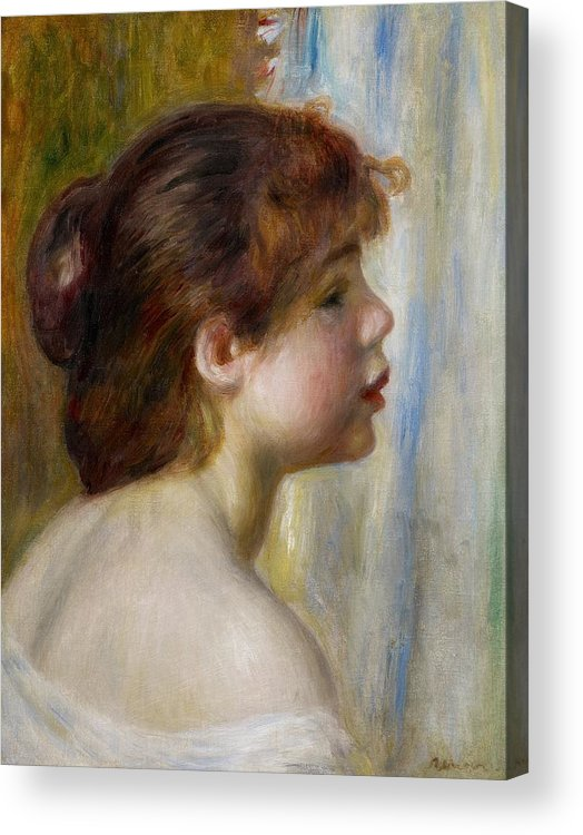 Renoir Acrylic Print featuring the painting Head Of A Young Woman by Pierre Auguste Renoir