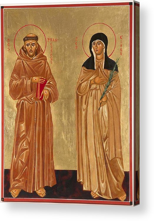 Icons Acrylic Print featuring the painting St. Francis Of Assisi And St. Clare by Joseph Malham