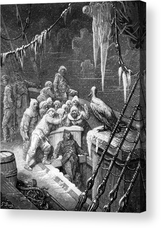 Antartic; Ice; Icebergs; Freezing; Sea; Bird; Dore Acrylic Print featuring the drawing The Albatross Being Fed By The Sailors On The The Ship Marooned In The Frozen Seas Of Antartica by Gustave Dore