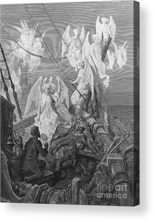 Angels; Ship; Vessel; Sailors; Dore Acrylic Print featuring the drawing The Mariner Sees The Band Of Angelic Spirits by Gustave Dore