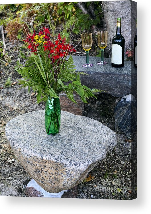 Red Acrylic Print featuring the photograph Wine And Red Flowers On The Rocks by Les Palenik