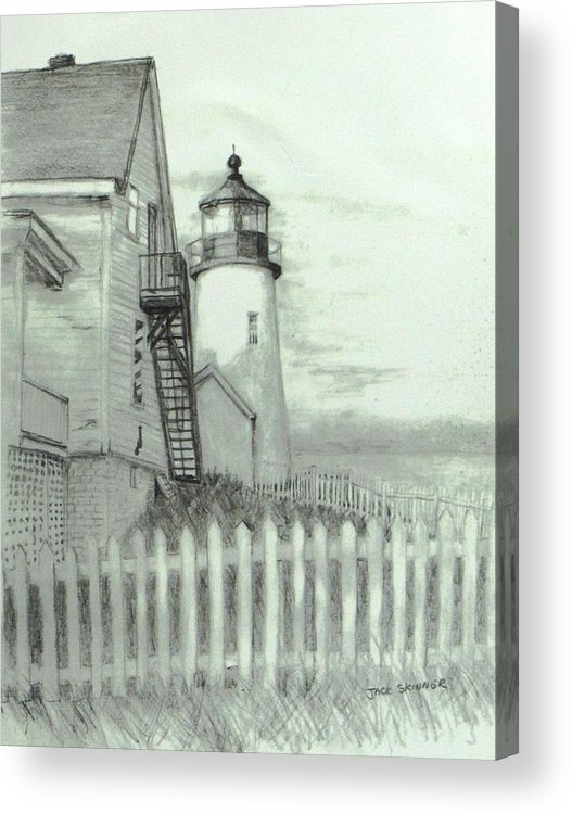 Pemaquid Lighthouse Acrylic Print featuring the drawing Pemaquid Lighthouse by Jack Skinner