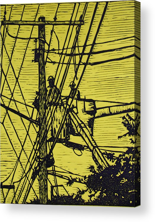 Powerlines Acrylic Print featuring the drawing Working On Lines by William Cauthern