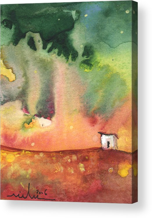 Travel Acrylic Print featuring the painting A Little House On Planet Goodaboom by Miki De Goodaboom