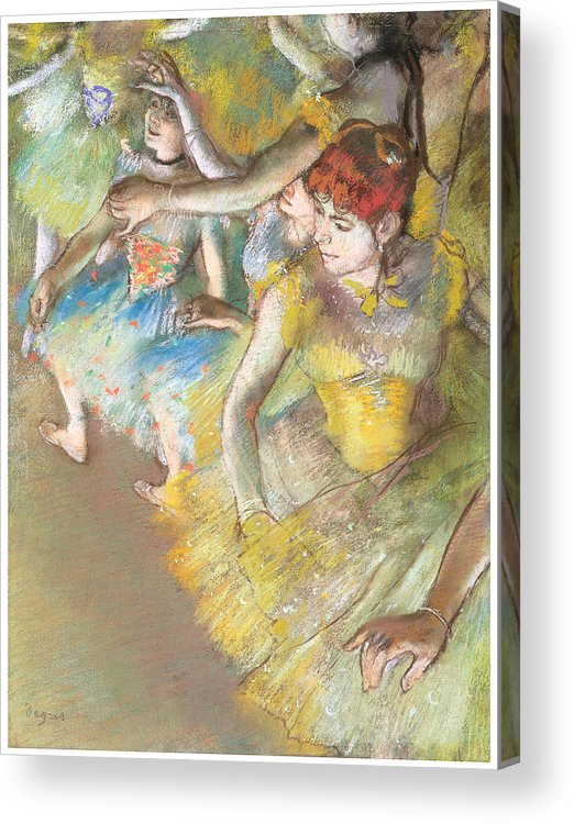 Ballet Dancers On The Stage Acrylic Print featuring the pastel Ballet Dancers On The Stage by Edgar Degas