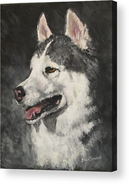 Dog Acrylic Print featuring the painting Ozzie by Jack Skinner