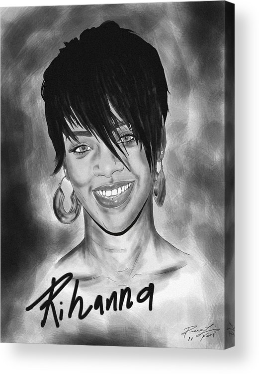 Rihanna Drawing Acrylic Print featuring the drawing Rihanna Smiles by Kenal Louis