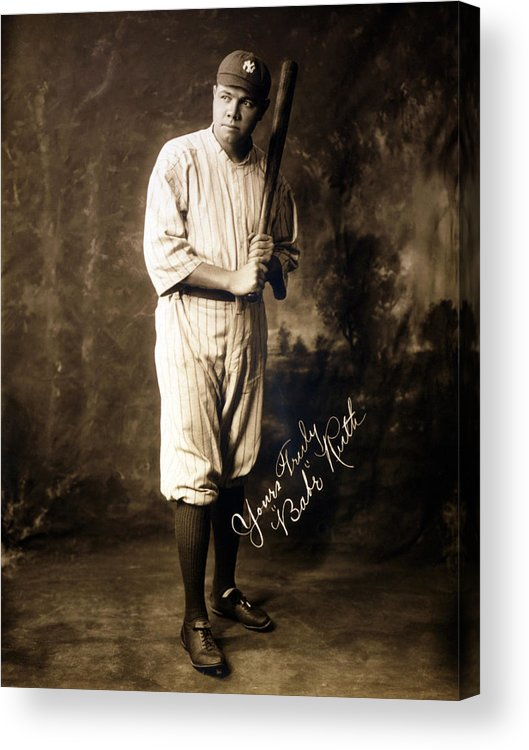 1920s Acrylic Print featuring the photograph Babe Ruth, 1920 by Everett