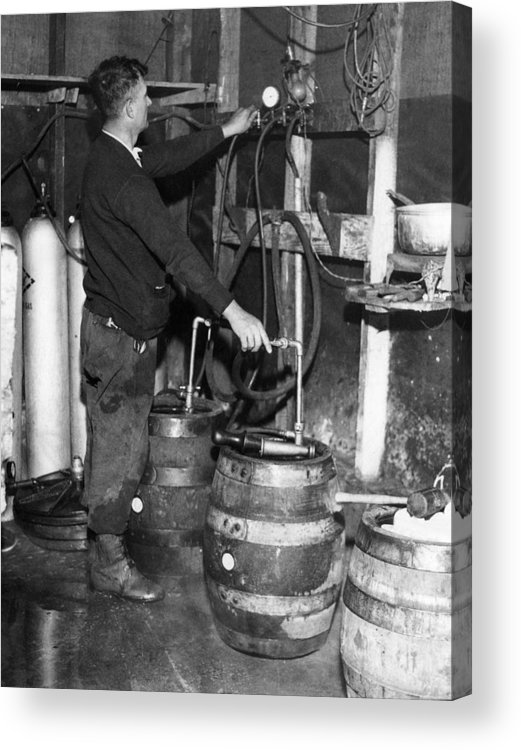 1930s Acrylic Print featuring the photograph A Brewmeister Fills Kegs At A Bootleg by Everett