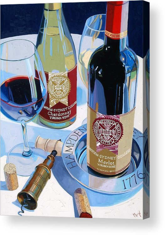 Wine Acrylic Print featuring the painting Hampden Sydney Red And White Number One by Christopher Mize