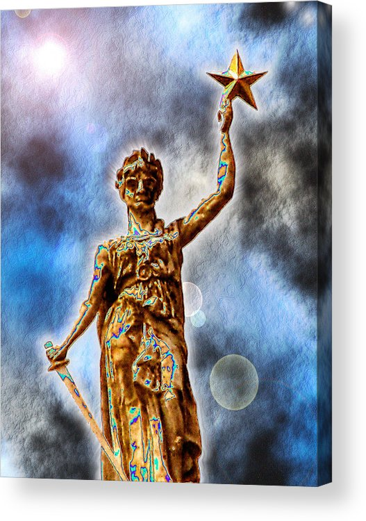 Texas Acrylic Print featuring the digital art The Goddess Of Liberty - Texas State Capitol by Wendy J St Christopher