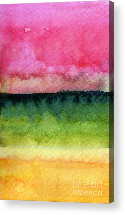 Abstract Landscape Acrylic Print featuring the painting Awakened by Linda Woods