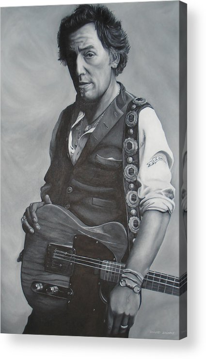 Bruce Springsteen Acrylic Print featuring the painting Bruce Springsteen I by David Dunne