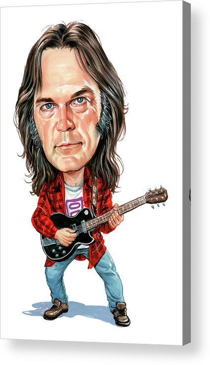 Neil Young Acrylic Print featuring the painting Neil Young by Art