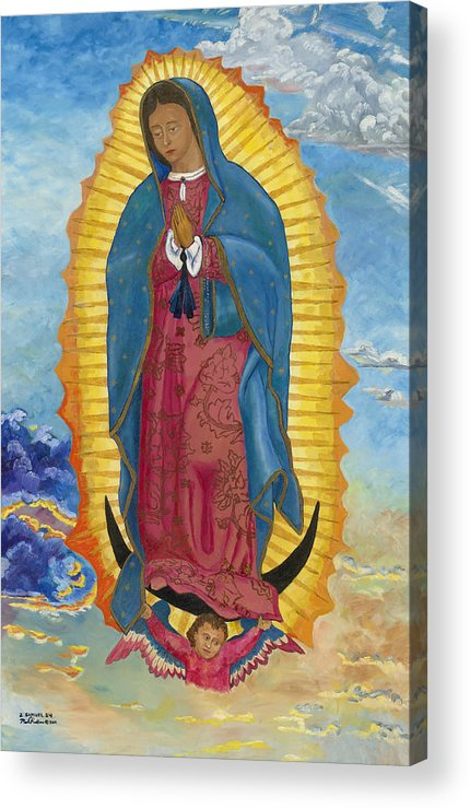 Our Lady Of Guadalupe Acrylic Print featuring the painting Our Lady Of Guadalupe-new Dawn by Mark Robbins