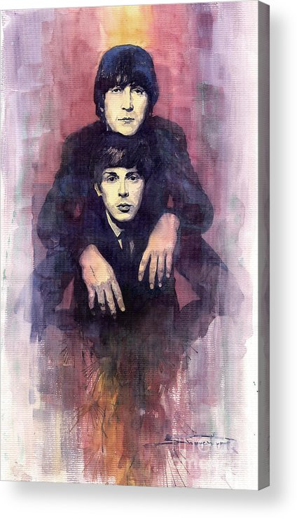 Watercolour Acrylic Print featuring the painting The Beatles John Lennon And Paul Mccartney by Yuriy Shevchuk