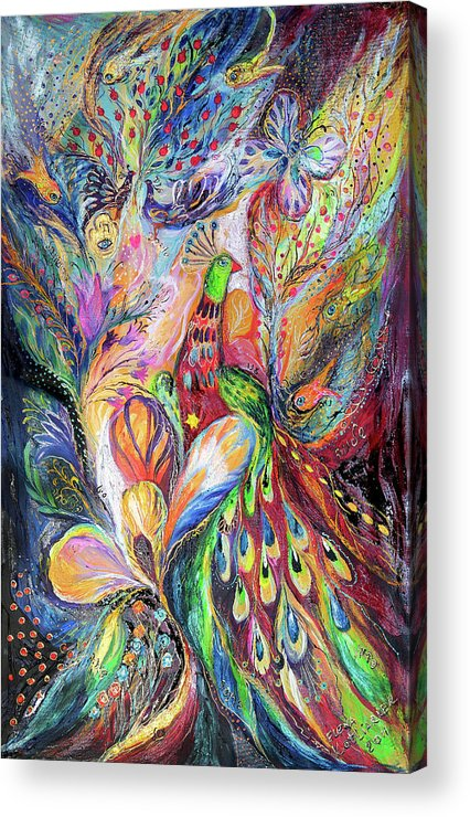 Original Acrylic Print featuring the painting The King Bird by Elena Kotliarker