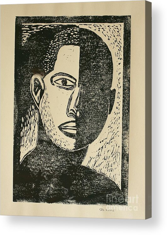 Lino Cut Acrylic Print featuring the mixed media A Dark Side by Christiane Schulze Art And Photography