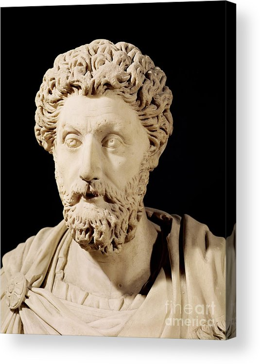 Roman Emperor Acrylic Print featuring the sculpture Bust Of Marcus Aurelius by Anonymous