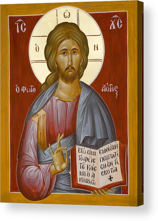 Christ Acrylic Print featuring the painting Christ The Light-giver by Julia Bridget Hayes