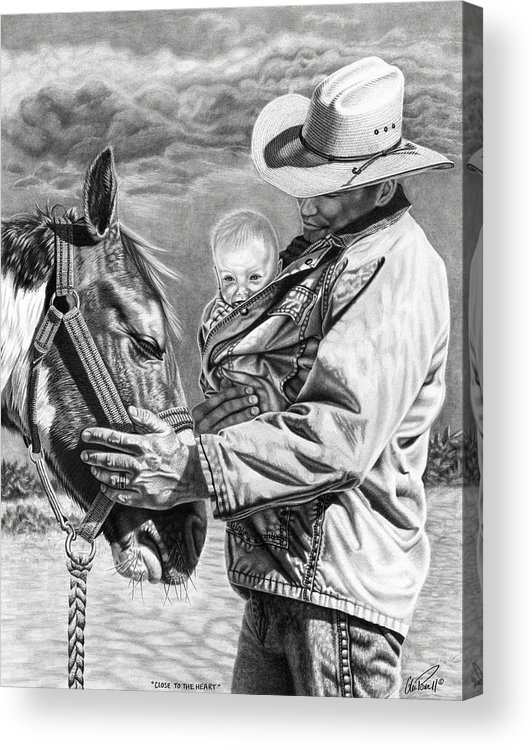 Kids Acrylic Print featuring the drawing Close To The Heart by Glen Powell