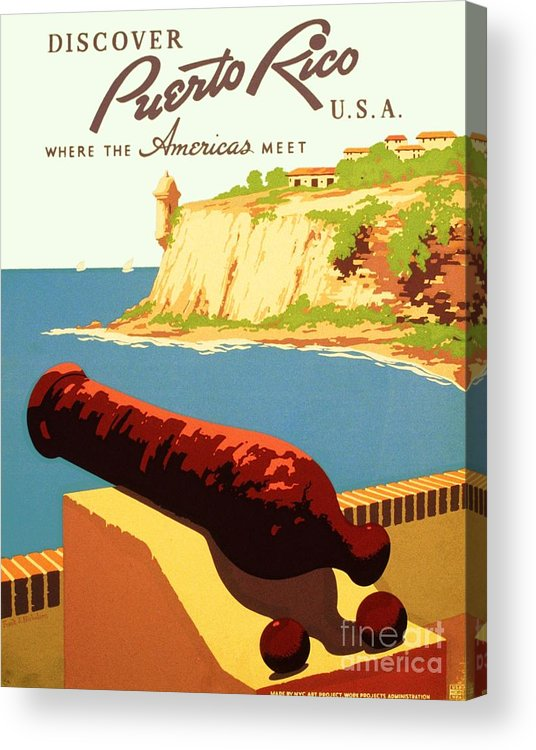 Art Deco Acrylic Print featuring the painting Discover Puerto Rico by Pg Reproductions