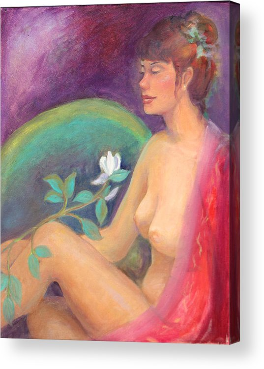 Figure Pose Acrylic Print featuring the painting Fragrance Of A Dream by Gwen Carroll