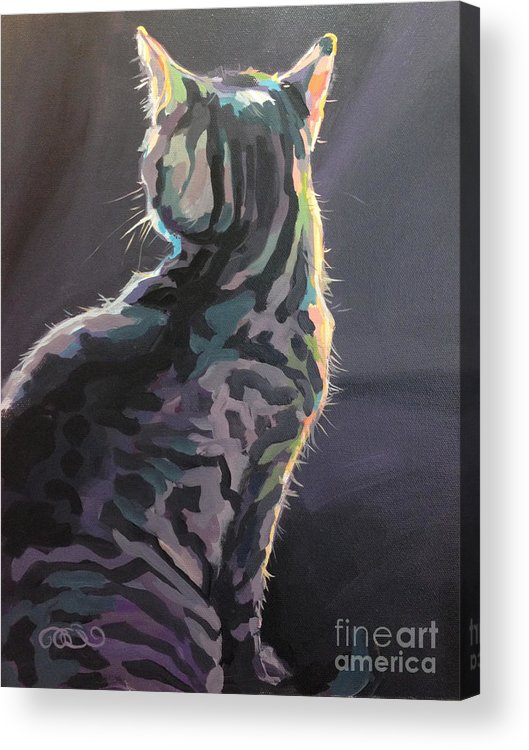 Gray Tabby Acrylic Print featuring the painting I'm Not Listening by Kimberly Santini