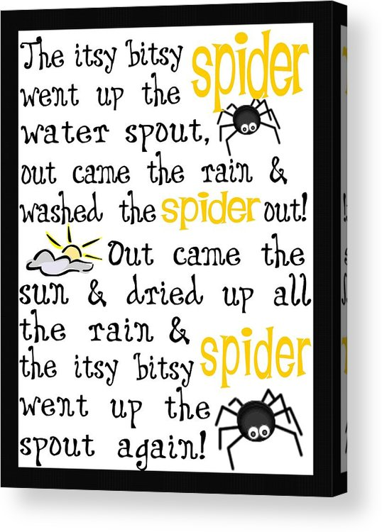 Itsy Bitsy Spider Acrylic Print featuring the digital art Itsy Bitsy Spider by Jaime Friedman