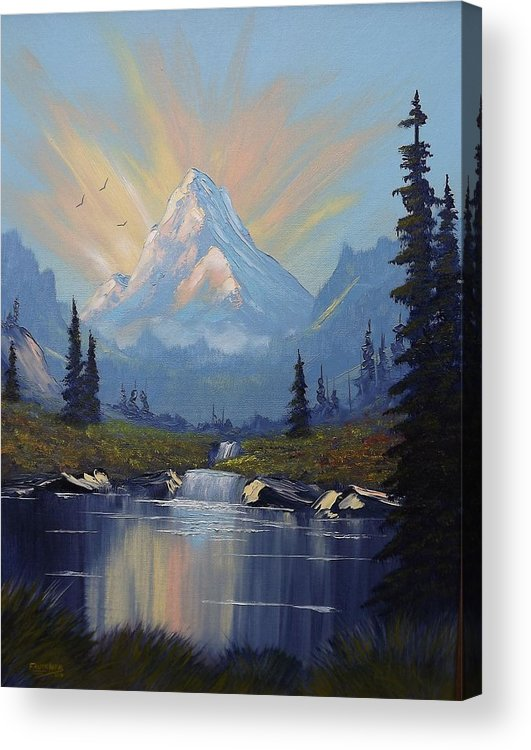 Mountain Acrylic Print featuring the painting Sunburst Landscape by Richard Faulkner
