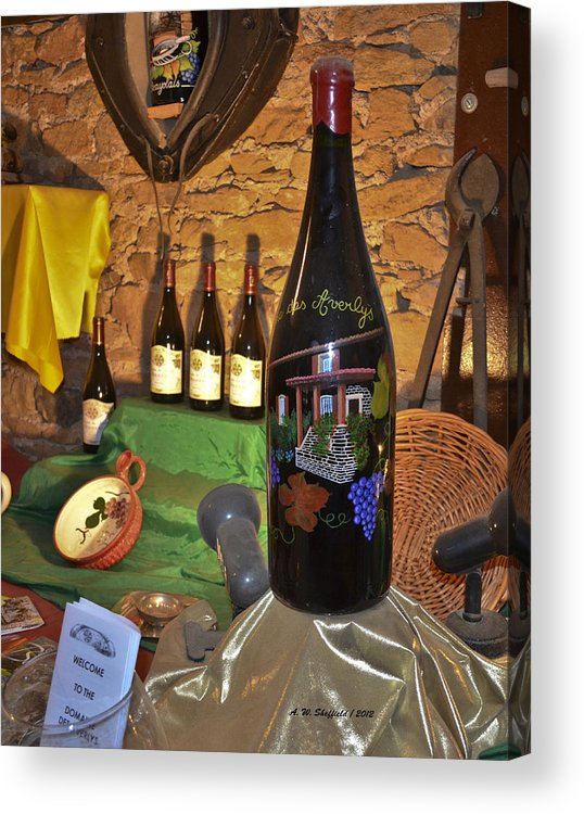 Wine Acrylic Print featuring the photograph Wine Bottle On Display by Allen Sheffield