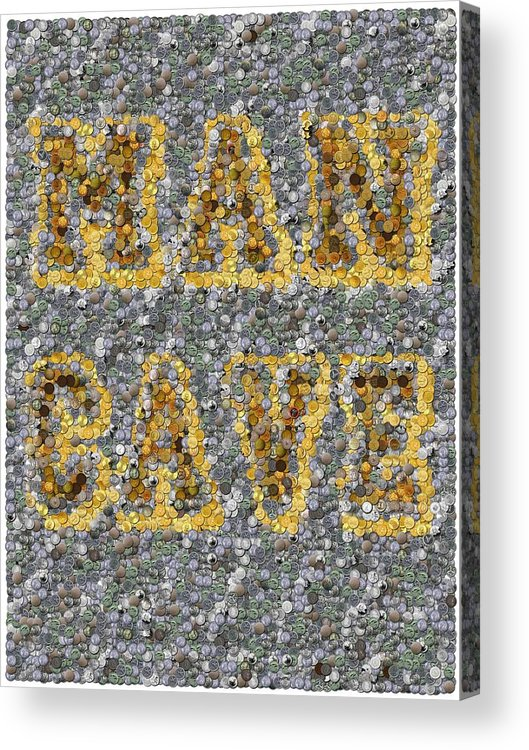 Man Cave Acrylic Print featuring the mixed media Man Cave Coin Mosaic by Paul Van Scott