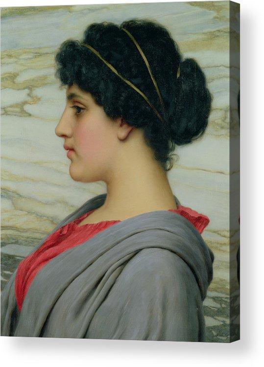 John William Godward (1861-1922) Female; Neo-classical; Seated; Profile; Ethereal; Beauty; Grecian; Beauty Acrylic Print featuring the painting Perilla by John William Godward
