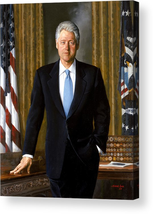 Bill Clinton Acrylic Print featuring the painting President Bill Clinton by War Is Hell Store