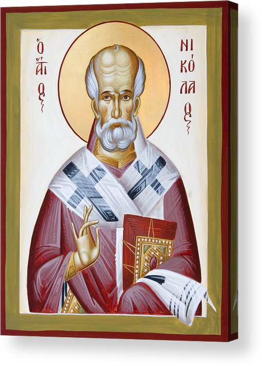 St Nicholas Of Myra Acrylic Print featuring the painting St Nicholas Of Myra by Julia Bridget Hayes